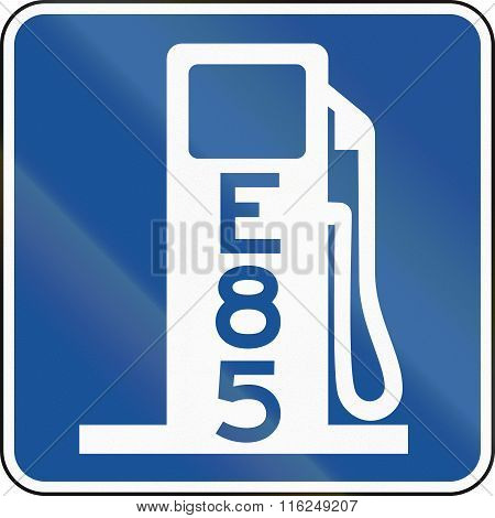 United States Mutcd Road Road Sign - Gas Station With E85
