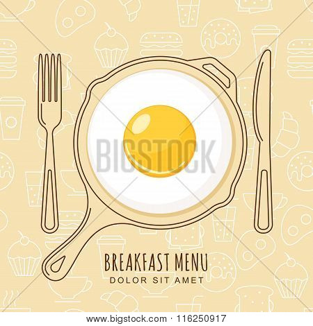 Fried Egg And Hand Drawn Pan, Fork And Knife On Seamless Background With Outline Food Icons.