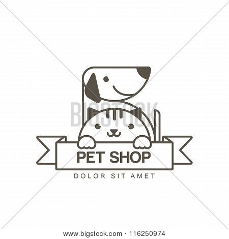 Vector Outline Illustration Of Cute Muzzle Of Cat And Smiling Dog. Logo Icon Design Template.