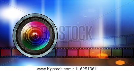 Photographic Lens And Film Strip On Abstract Background