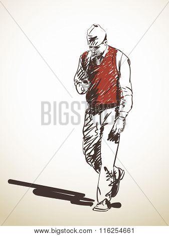 Sketch of nepali man using mobile phone while walking, Hand drawn illustration