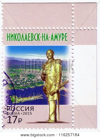 Russia - Circa 2015: A Post Stamp Printed In Russia Shows Monument To Admiral Gennady Nevelsky, Far