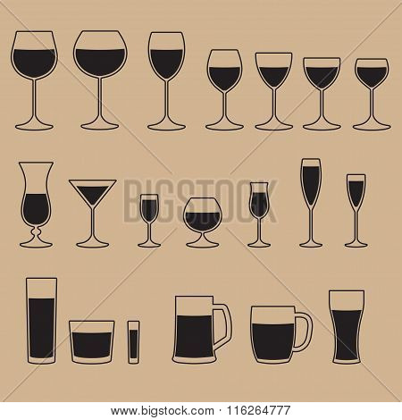 Glass icon set. Stemware for a different drinks. Beer glass, Wine glass and Cups icons.