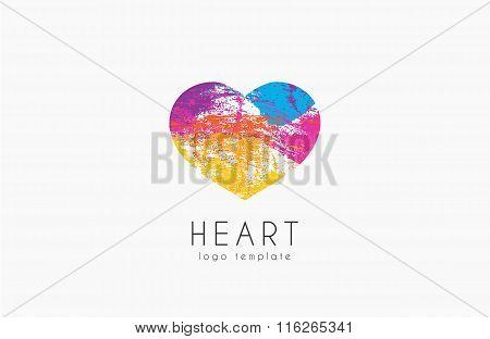 Rainbow heart. Colorful heart. Symbol of love. Heart logo