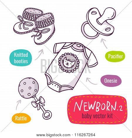 Vector Line Art Icon Set With Baby Products For Newborns Isolated On White