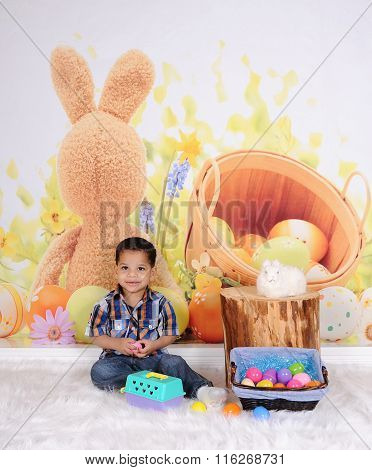 Adorable Little Boy Posing At Easter