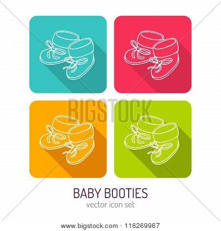 Vector Line Art Baby Booties Icon Set In Four Color Variations With Long Shadows
