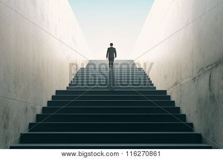 Ambitions concept with businessman climbing stairs, mock up poster