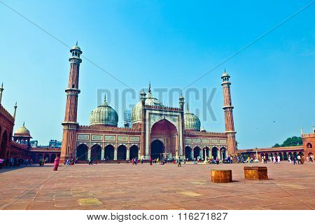 NEW DELHI, INDIA - JAN 4, 2012: Jama Masjid Mosque in old Delhi India.