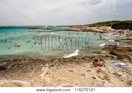 Punta Della Suina's Beach Near Gallipoli In Salento. Apulia. Italy.