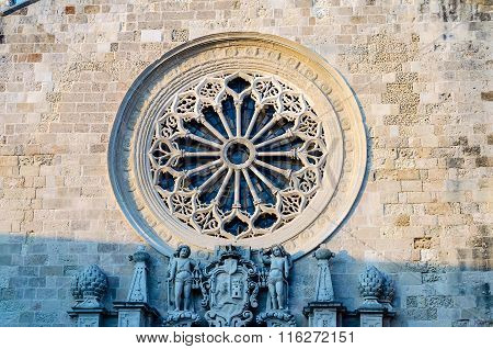 Rose Window of the Otranto Cathedral iconic landmark in Salento Italy poster