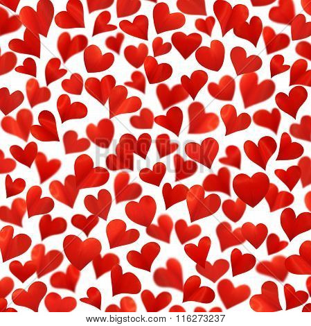 Background with red hearts in 3D, isolated on white, heart background