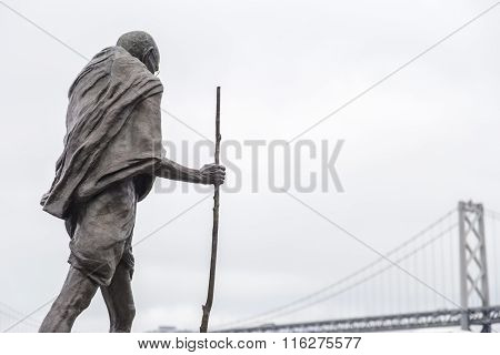 Statue Of Ghandi In The Embarcadero Center, San Francisco, California