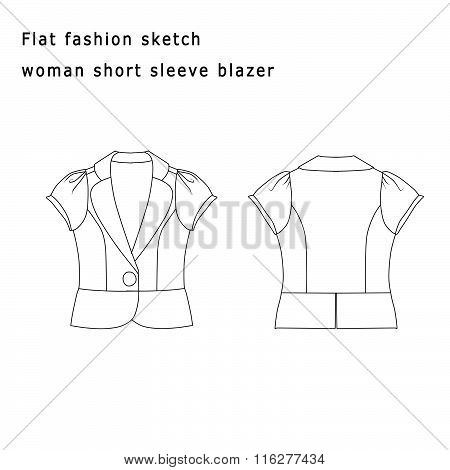 Fashion Illustration - Fashion Flat template - Woman short Blazer