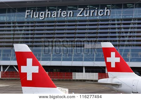 Zurich Airport With Swiss Air Lines Airplanes