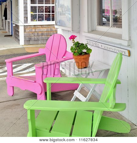 Colorful Colourful Pink And Green Beach Chairs