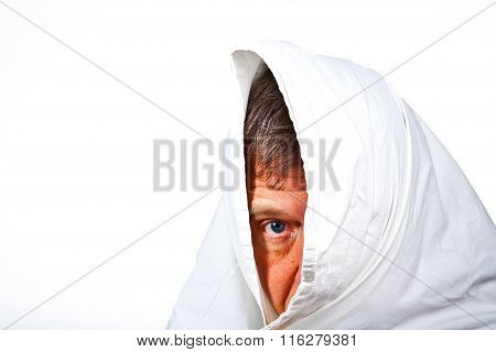 Face Of Man Partially Covered