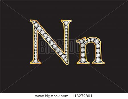 Nn Diamond Jeweled Font With Gold Channels