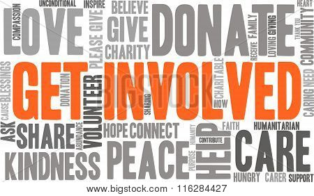 Get Involved word cloud on a white background. poster