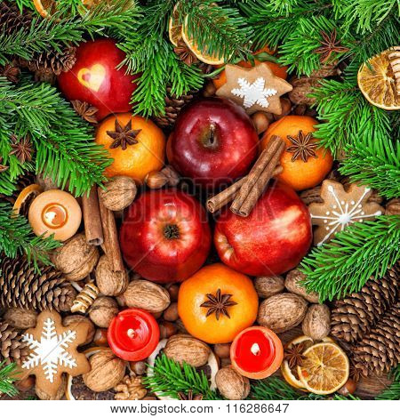 Christmas Food Backdround. Fruits, Spices And Cookies