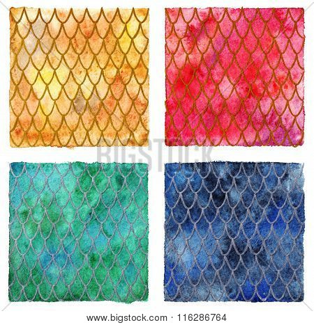 Dragon Skin Scales Pattern Texture Background Four Colors Set