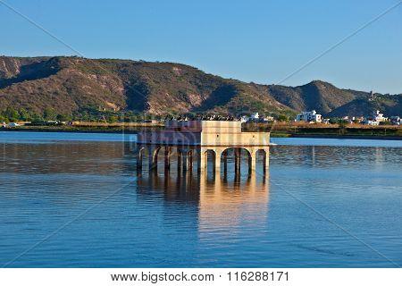 Cormorans At Water Palace (jal Mahal) In Man Sagar Lake. Jaipur, Rajasthan, India. 18Th Century.
