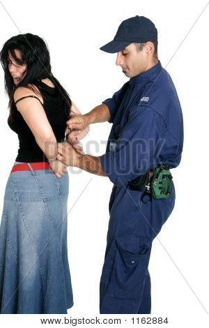 Suspect Thief Being Handcuffed