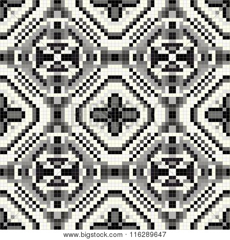 Beautiful Pixel Monochrome Seamless Geometric Pattern