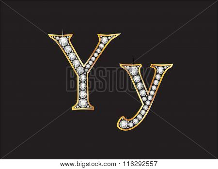 Yy Diamond Jeweled Font With Gold Channels