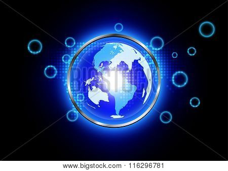 Abstrsact Blue World Background Technology  With Metal Radius