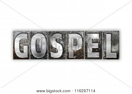 Gospel Concept Isolated Metal Letterpress Type
