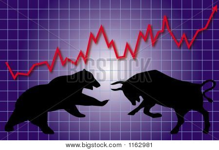 graphic illustration of stock market bull and bear concept poster