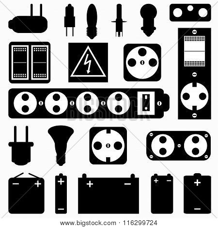 Electrical Equipment Monochrome Collection Of Symbols