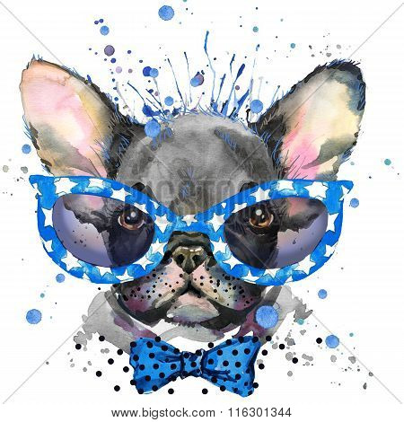 French Bulldog. Cute puppy dog. Watercolor puppy dog illustration. French Bulldog breed. unusual ill