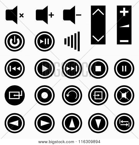 Music Buttons Monochrome Symbols Vector Illustration