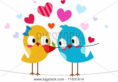 Illustration of a Lovebird Giving Another Lovebird a Flower poster
