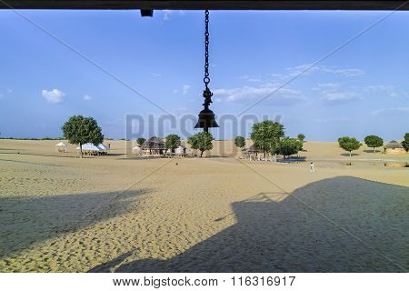 travel with railway in the desert at the khuri dunes in thar desert near jaisalmer in rajasthan state in india