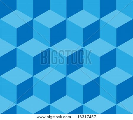 Blue Cubic Seamless Pattern