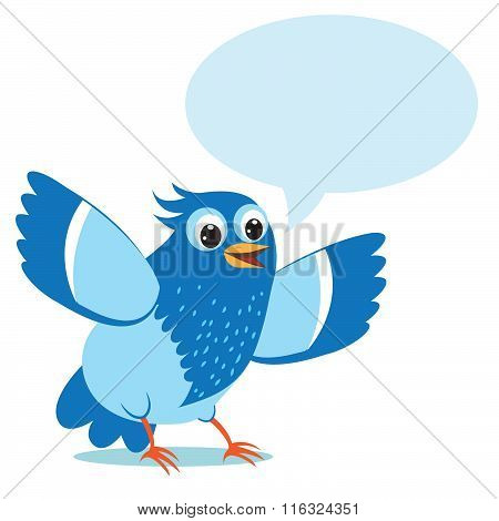 Talking Blue Bird. Vector Illustration on a White Background. Talking Bird Toy. Talking Bird Pets.
