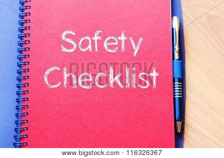 Safety Checklist Write On Notebook