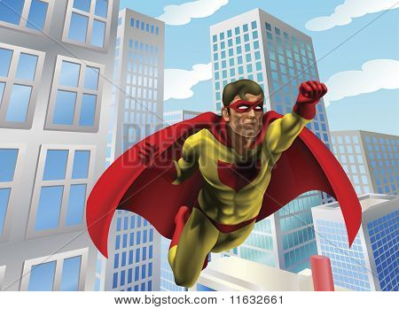 Superhero Flying Through City