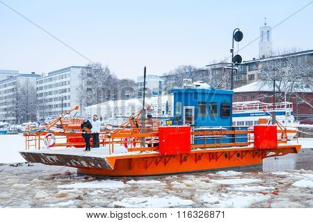 Ordinary Passengers On Small City Boat Fori, Finland