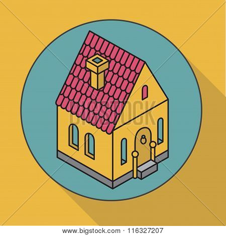 ?ottage. Flat Vector Illustration House. Isometric Icon