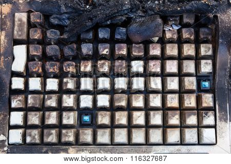 Charred And Melted Keyboard