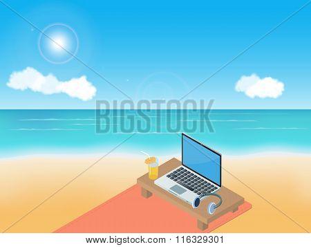 Sea beach, laptop and headphones