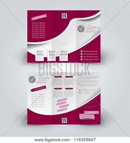 Brochure Mock Up Design Template For Business, Education, Advertisement. Trifold Booklet Editable Pr