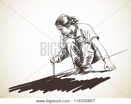 Sketch of man painting the roof, Hand drawn illustration