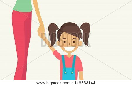 Smiling Little Girl Holding Hand Of Her Mother