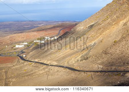 Winding Road Along An Old Volcano To Femes, Lanzarote