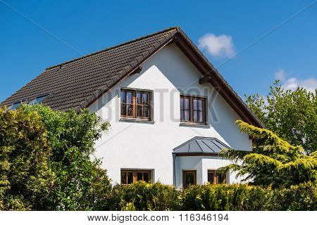 A detached house with blue sky and plants. poster